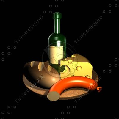 3d c4d artistic wine cheese bread