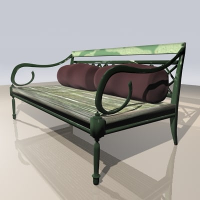 weathered park bench 3d model