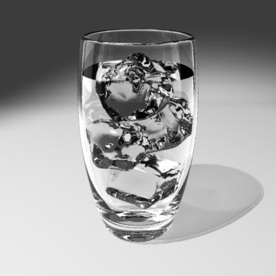 tumbler water ice cubes 3d model