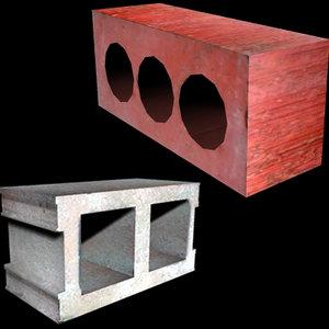 free 3ds model brick concrete block