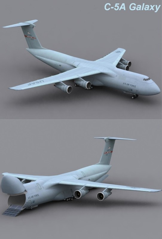 3d model c-5a galaxy transport jet plane