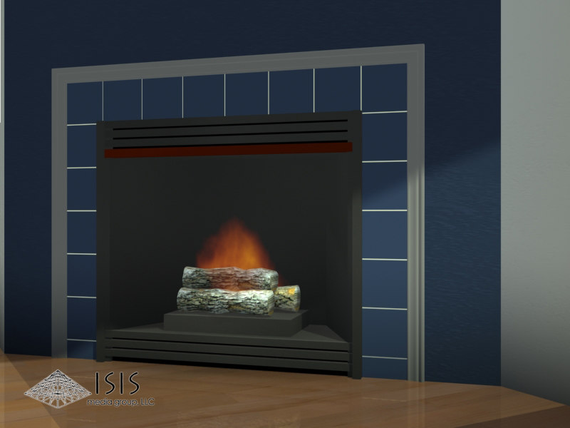3d model of fireplace gas ventless