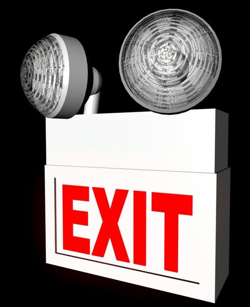 3d c4d emergency exit sign