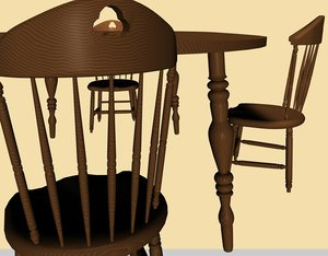 cinema4d wooden table chair