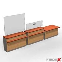 3d counter desk model