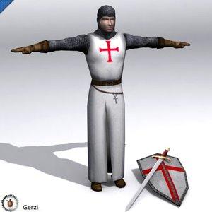 3d crusader knight model
