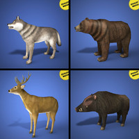 real time animals pack 3d model