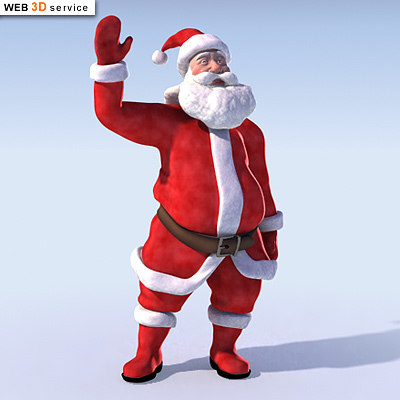 santa claus character rigged 3d model