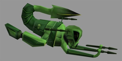 alien space fighter ship 3d model