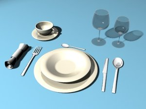 3d 3ds dining table set glasses