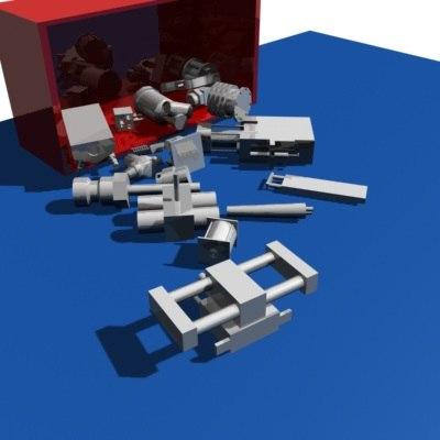 3d model weird mechanical parts