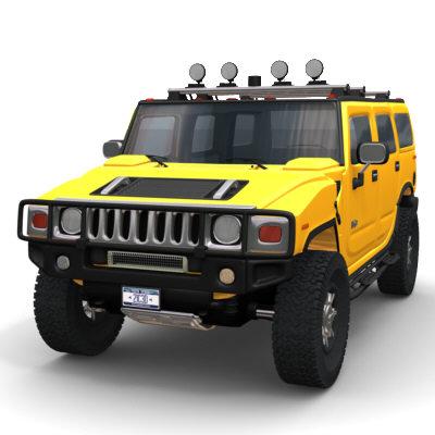 hummer h2 suv exterior 3d model