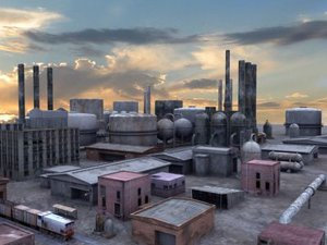 industrial buildings 3d model