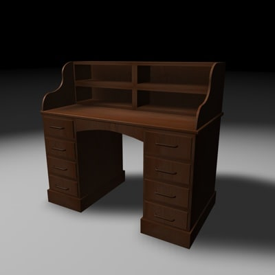 3ds max antique wooden desk
