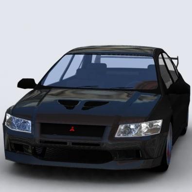 mitsubishi evo vii 3d model