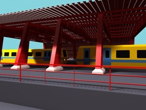 3dsmax trainstation trains