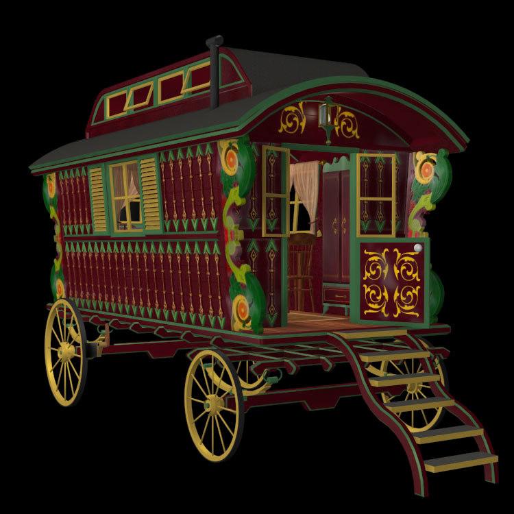 poser antique gypsy cart wagon