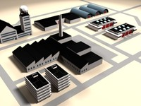 industrial site buildings 3d 3ds
