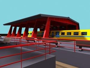 3ds max trainstation trains