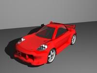 free red sports car 3d model