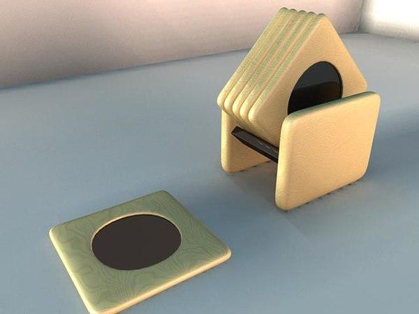 3d model beechwood coasters