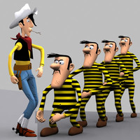 cartoon characters lucky luke 3d model