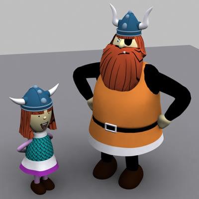 cartoon characters viking 3d model