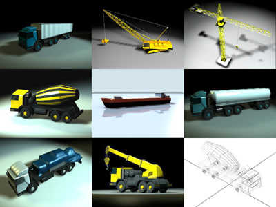 industrial vehicles 3d 3ds