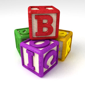abc building blocks 3d model