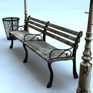 3d model city park combo bench