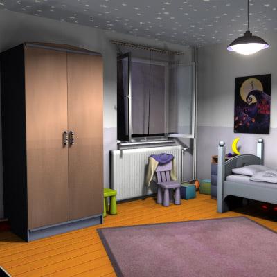 kids bedroom room 3d model