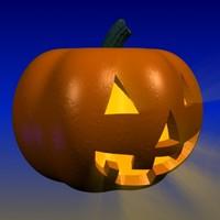 3d model of halloween jack-o-lantern pumpkin