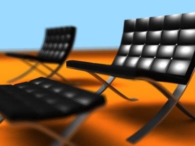 3d model barcelona chair ottoman
