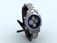3d silver watch model