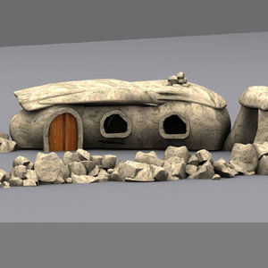 3d cartoon characters flintstones village