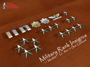 military rank insignia 3d max