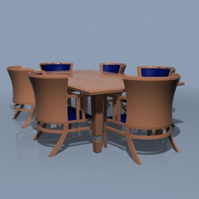 3ds max dutch dining table chairs