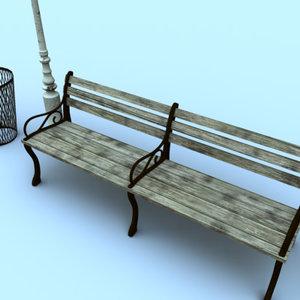 park combo pack bench 3d model