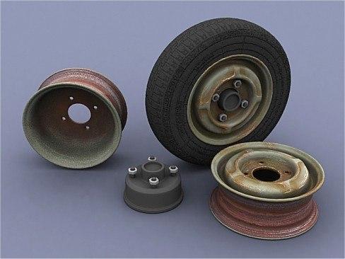 old used rim tire 3d model