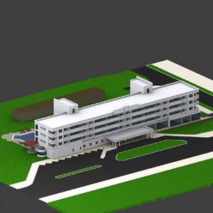 building exterior hotel 3d max