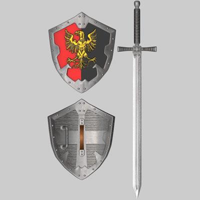3d c4d little shield medieval sword