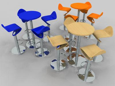 3d bistro cafe furniture model