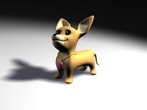 chiwawa dog rigged 3d model
