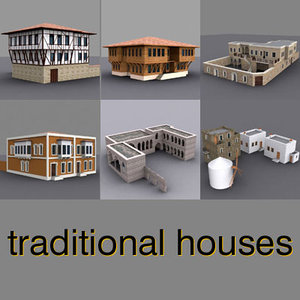 traditional houses pack building 3d model