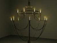 3d model ironwork chandelier