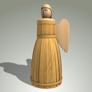 3d wood angel toy model