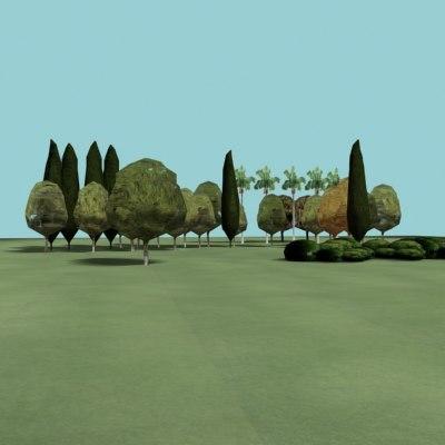 lowpolygon forest trees 3d model