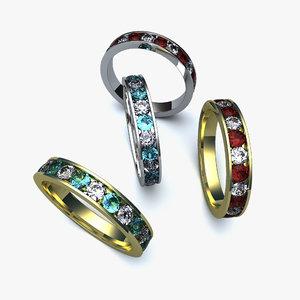 ring diamond ruby emerald 3d model
