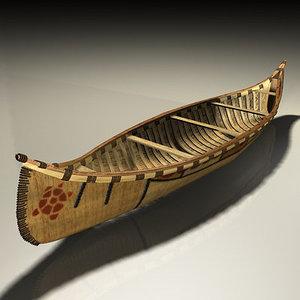 birchbark canoe 3d max