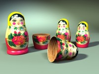 matrioshka nesting dolls 3d model